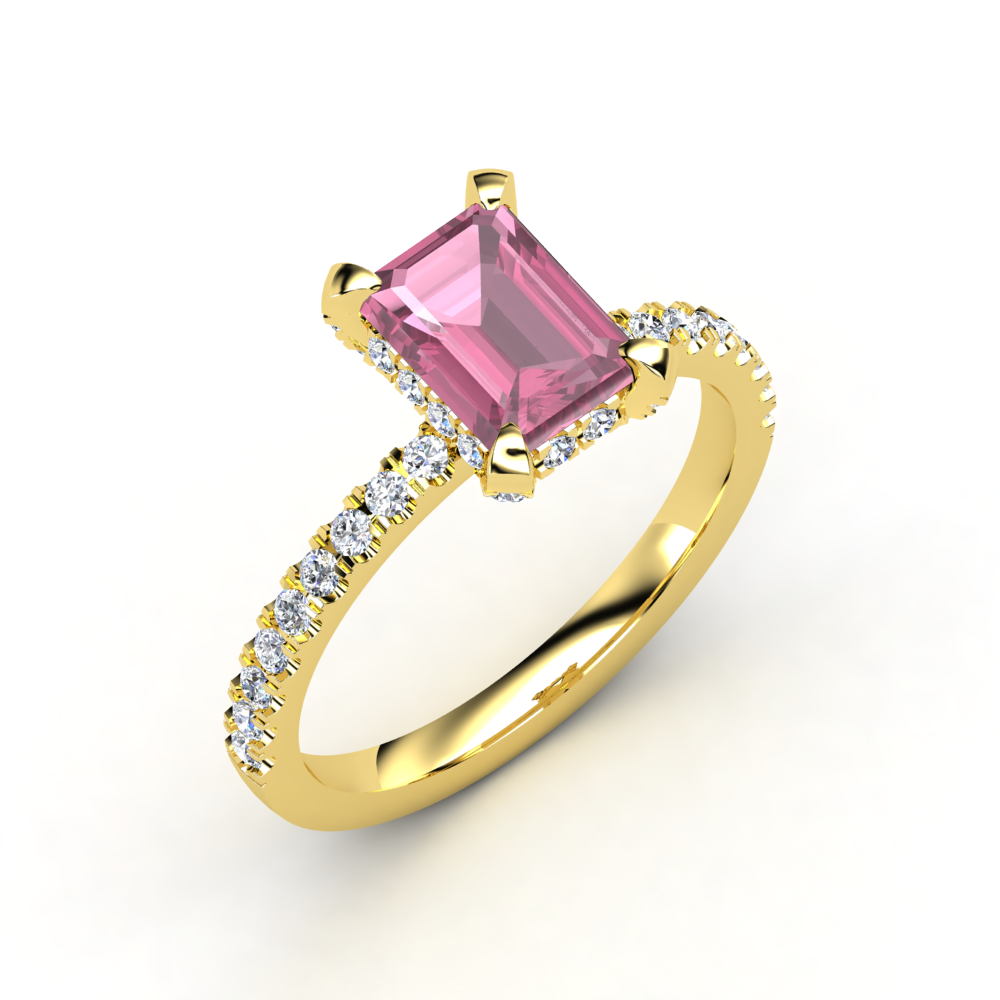 Emerald-Cut Pink Tourmaline, Multi-stone, Prong Set Ring in 14K Yellow Gold