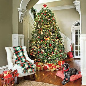 Most Pinned Christmas Decorating Ideas | Red & Gold Christmas Tree | SouthernLiving.com