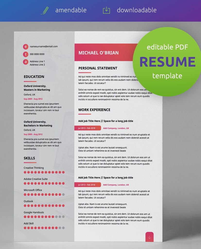 Gradient Style Modern Double Page CV Resume Best