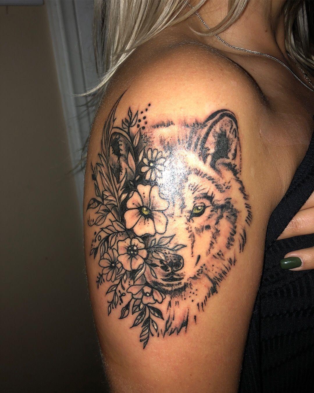 Wolf Tattoo With Flowers My Spirit Animal Wolf Tattoos For Women Animal Tattoos For Women Nature Tattoo Sleeve