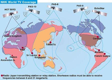NHK World satellite TV footprint | Maps | Map, Wire, Nhk