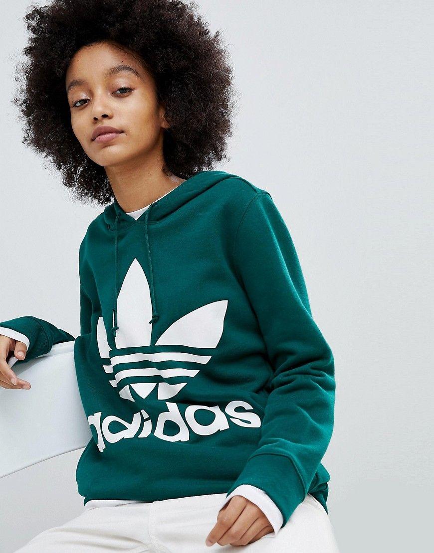 adidas Originals adicolor Trefoil Hoodie In Green - Green 268eb3c92a