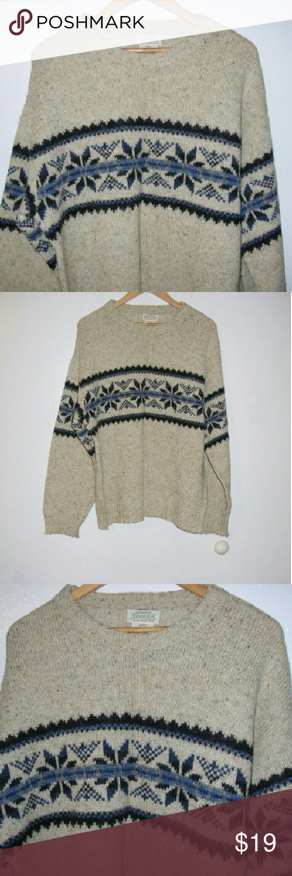 Men's St. John's Bay wool blend sweater L...q Oatmeal color with
