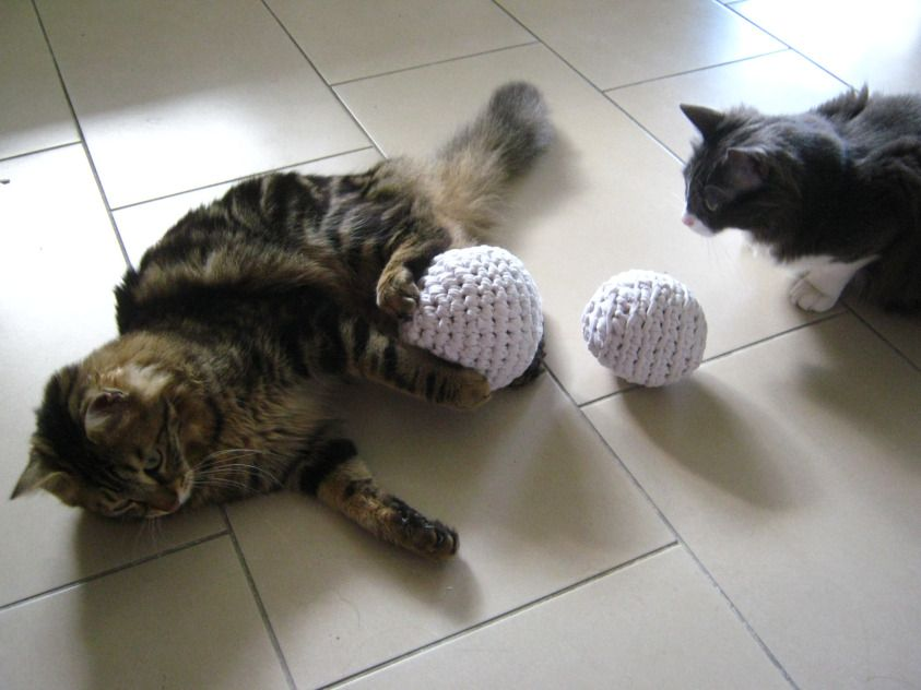 Free Pattern: Cat\'s favorite toy – Crocheted balls from a t-shirt ...