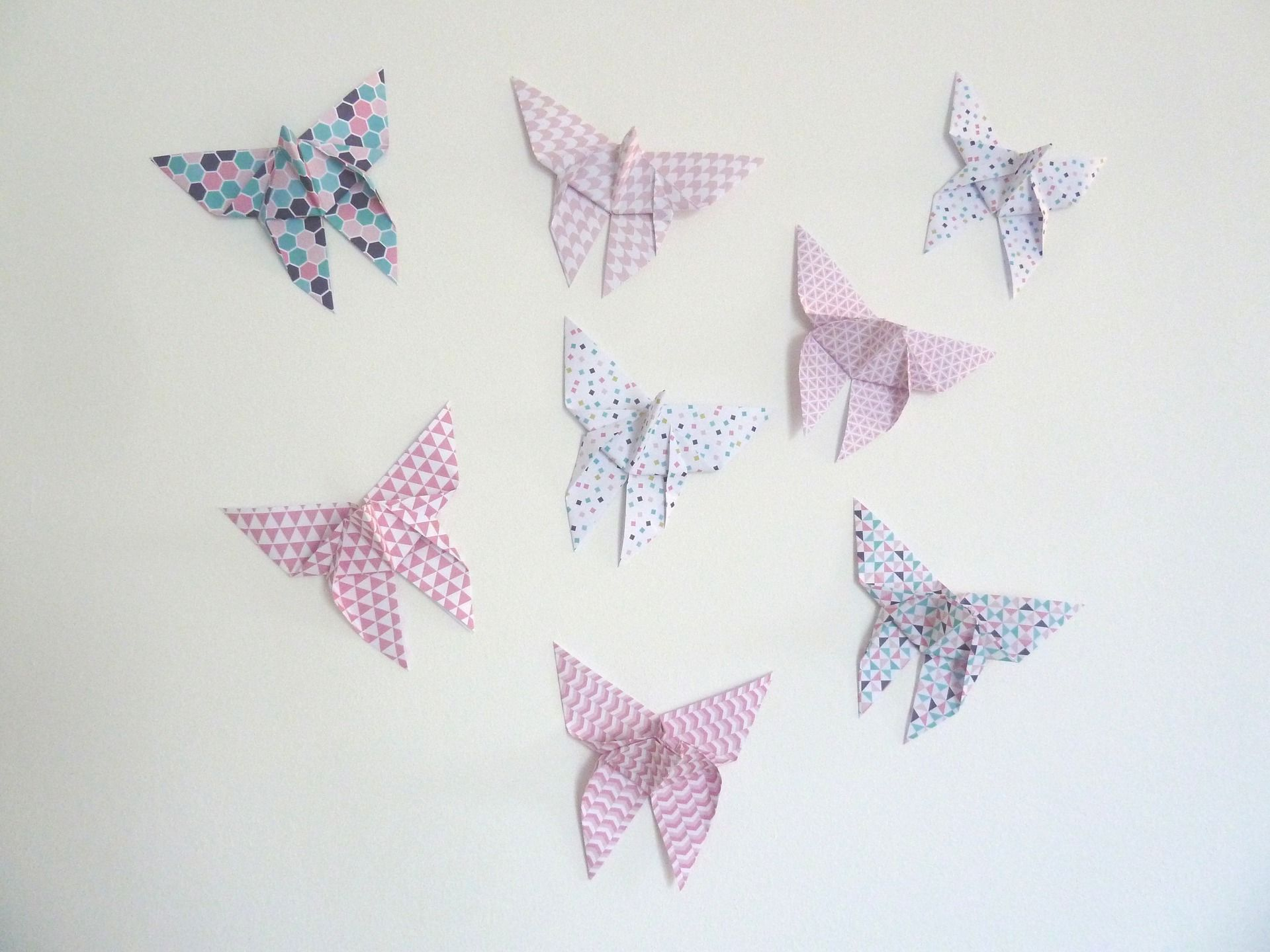 Stickers Autocollants Papillon En Origami Pour Décoration - Enfants decoration chambre autocollants
