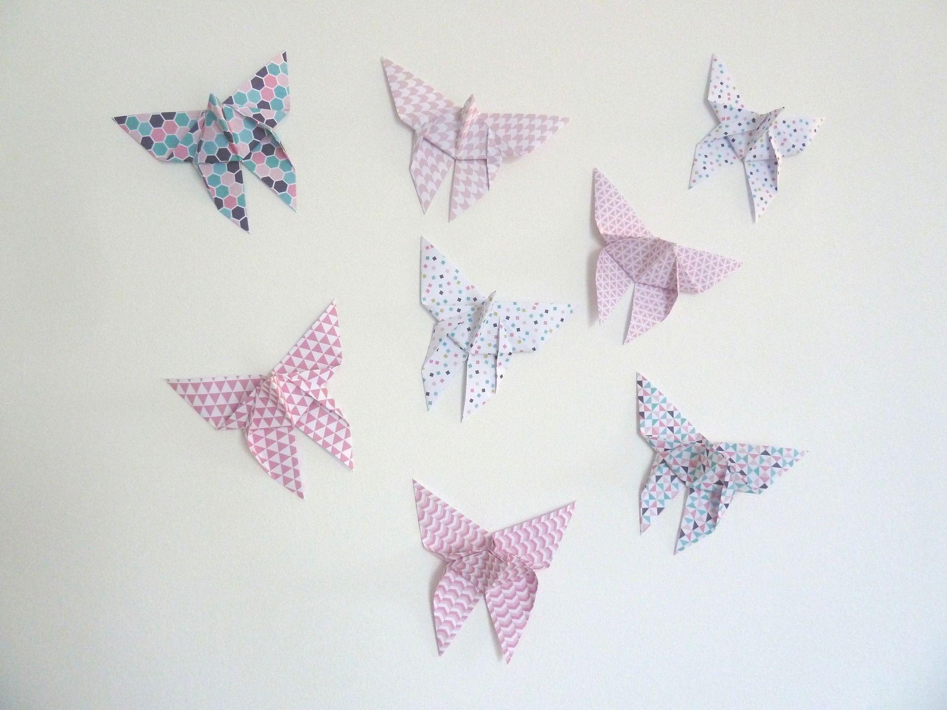 Stickers Autocollants Papillon En Origami Pour Décoration - Decoration murale pour pinterest chambre