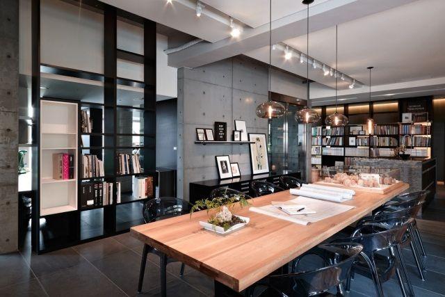 Meubles salle manger 65 id es avec l 39 clairage style for Ensemble salon salle a manger industriel