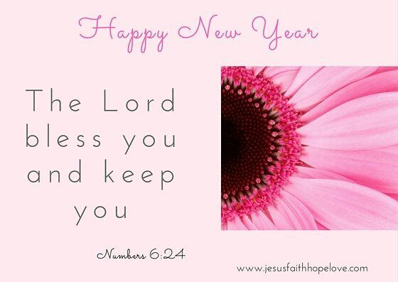 christian greeting card wwwjesusfaithhopelovecom happy new year pink floral bible verse blessed new year scripture