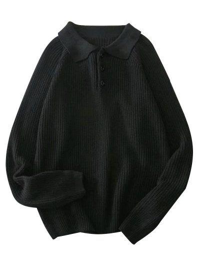Jersey de manga raglán medio botón liso NEGRO