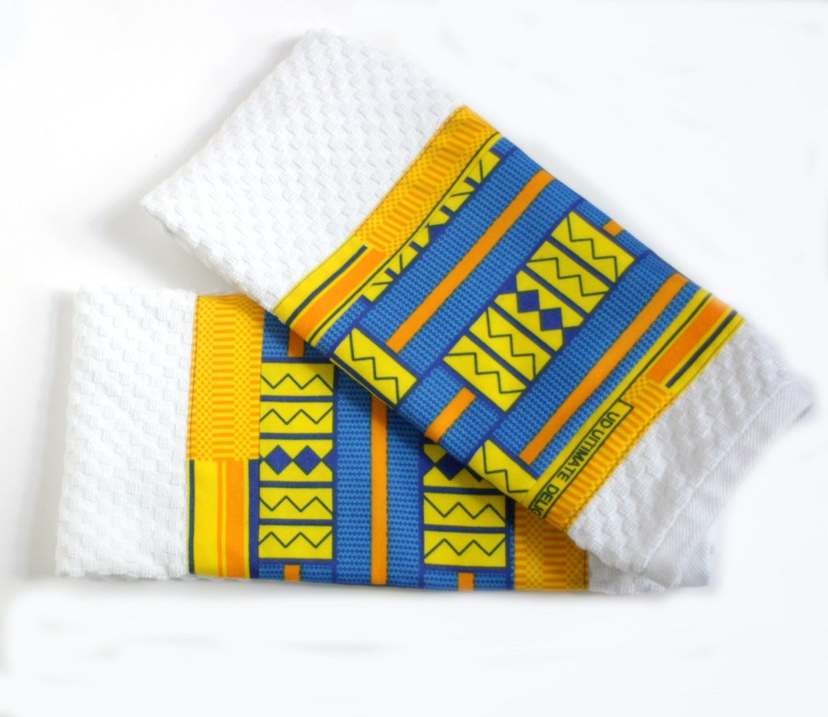 Kente Blue Yellow Cotton Kitchen Towels Blue Yellow Kitchens