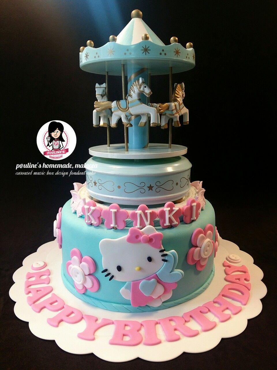 Hello Kitty Carousel Music Box Design Fondant Cake