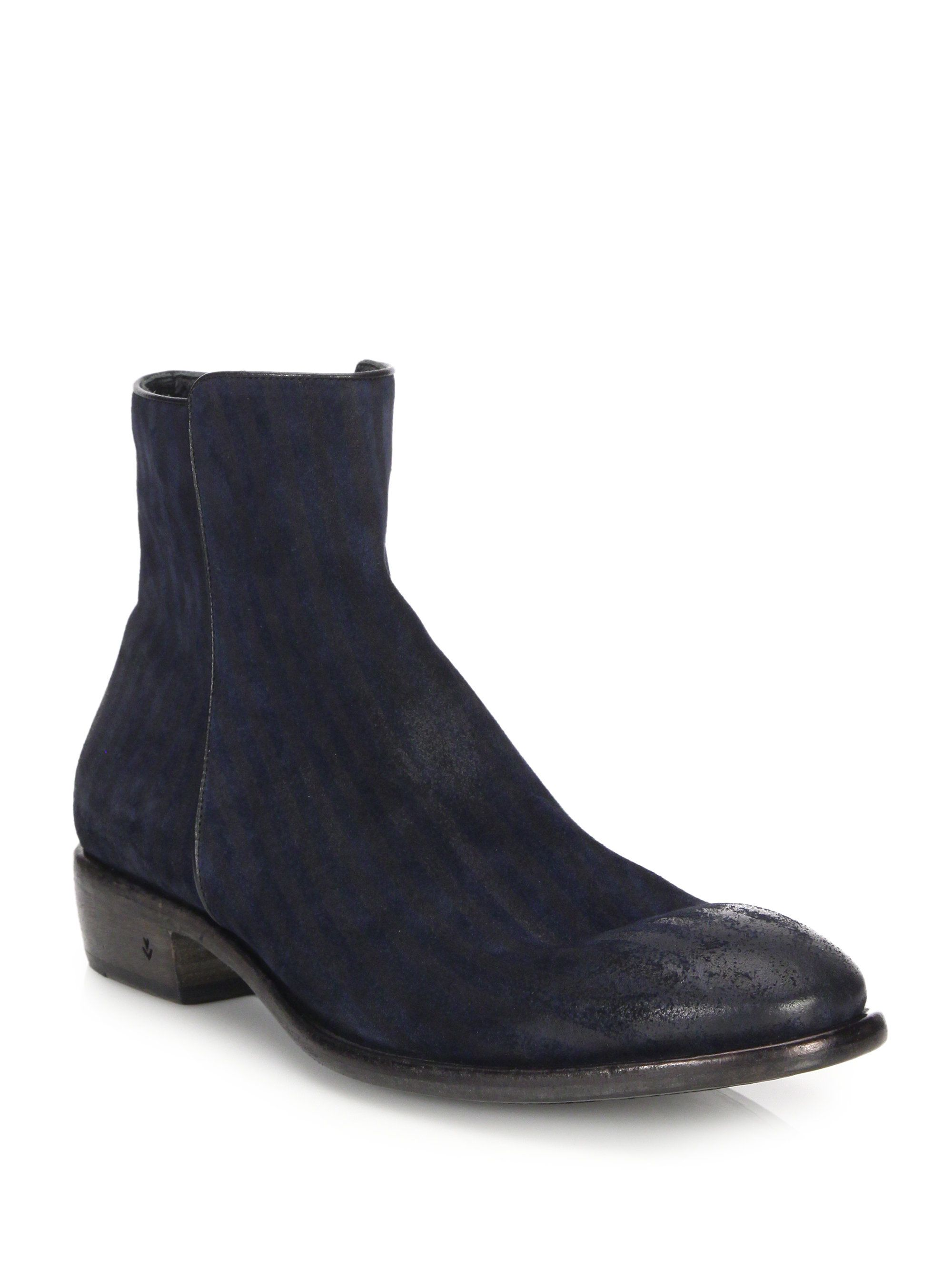 John Varvatos - Blue Keith Suede Zip Ankle Boots for Men - Lyst