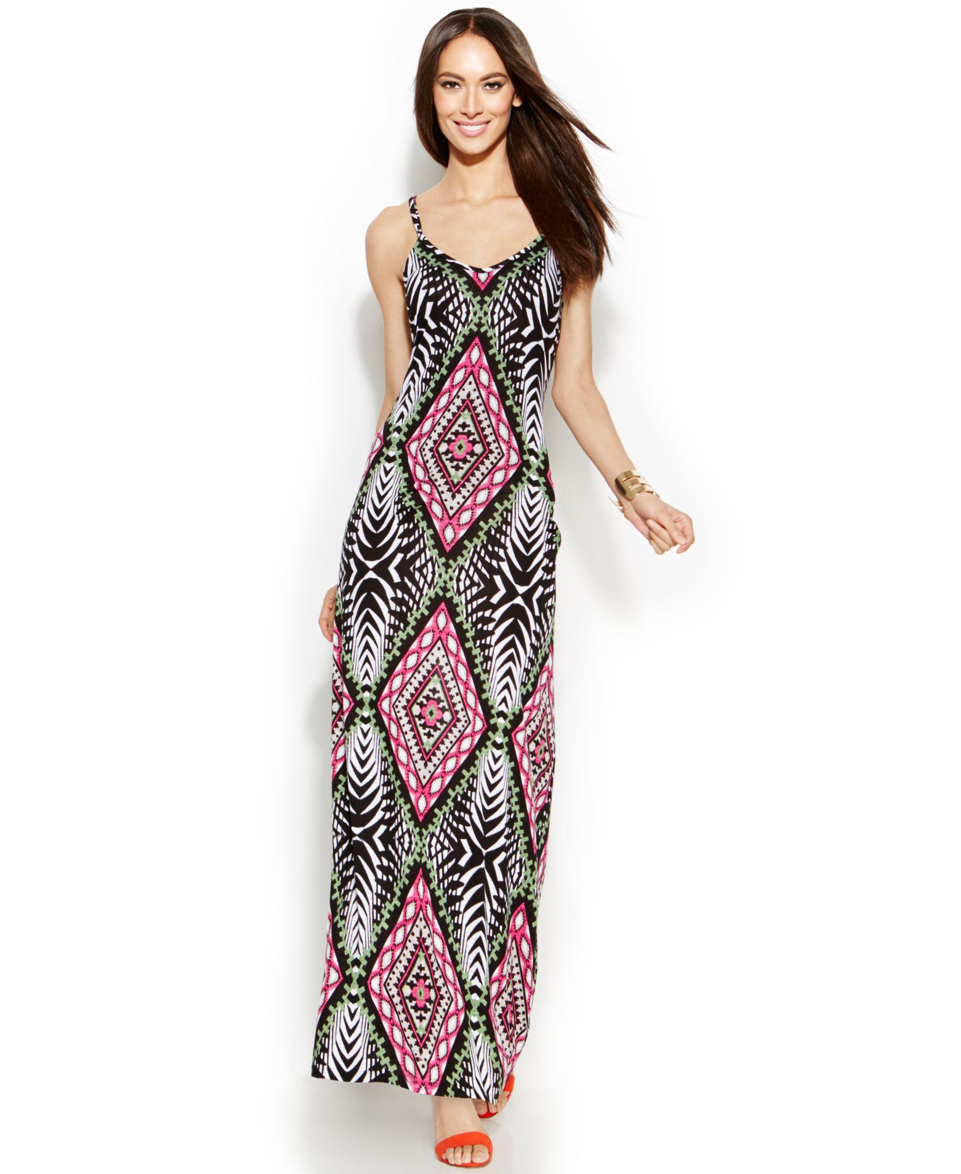 35985a37548c9b INC International Concepts Petite Spaghetti-Strap Printed Maxi Dress ...