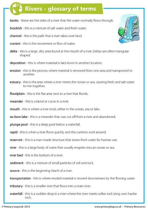 This a glossary of terms to be used when learning about rivers If - process flow in word