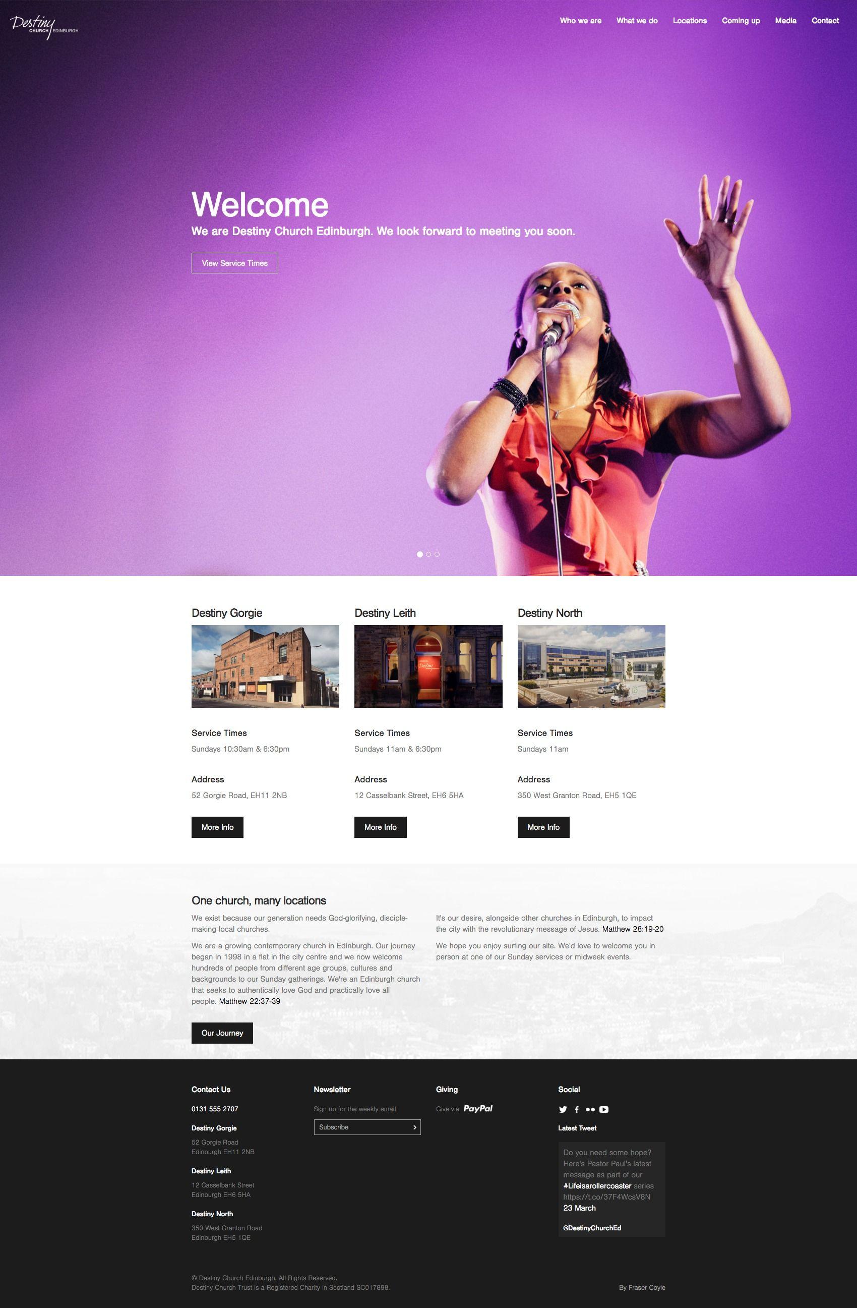 Destiny Church Edinburgh Contemporary Church Website Design Edinburgh