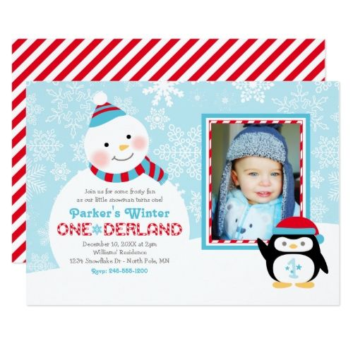 Boyu0027s 1st Birthday Party Winter ONEderland Birthday Snowman and - invitation card for ist birthday