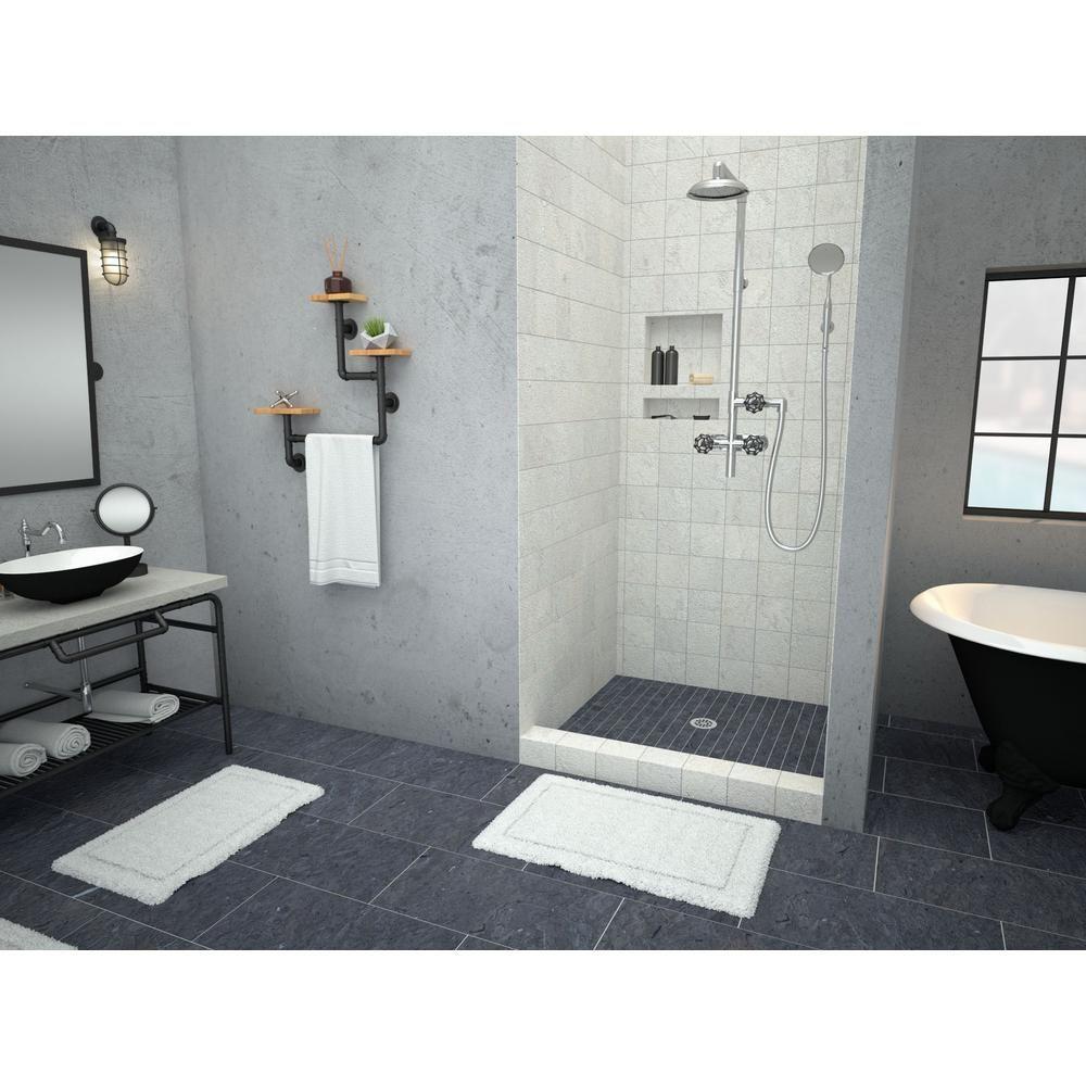 Tile Redi Redi Base 36 In X 36 In Single Threshold Shower Base In Grey With Center Drain 3636c Pvc Recessed Shower Shelf Shower Shelves Bathroom Shelf Decor