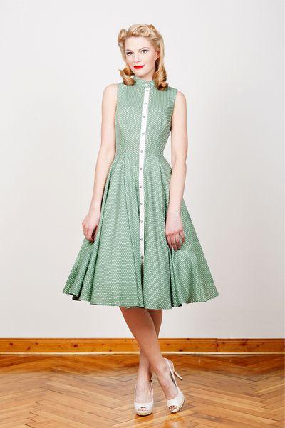 50er Jahre Petticoat Kleid in mintgrün mit weißen Punkten // vintage ...