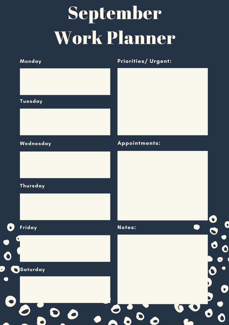 Free September 2018 Daily, Weekly Planners (met afbeeldingen)
