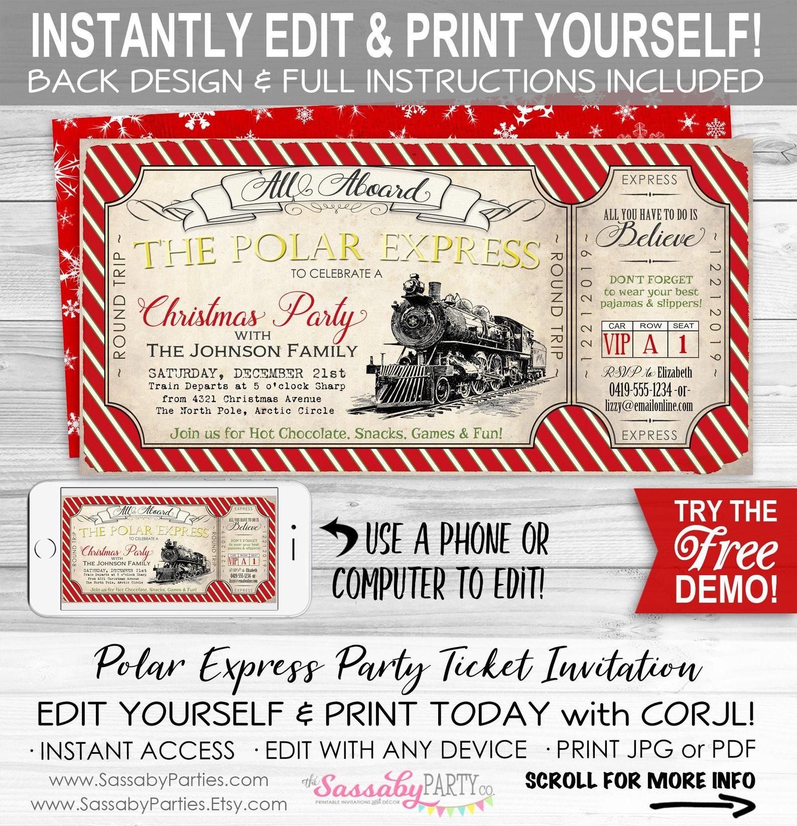 Polar Express Ticket Invitation Instant Download Partially
