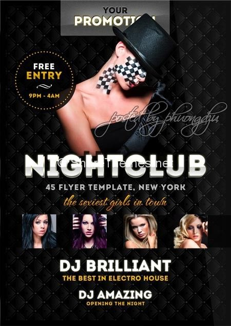TCF Luxury Nightclub flyer Share theme WordPress, Joomla - club flyer background