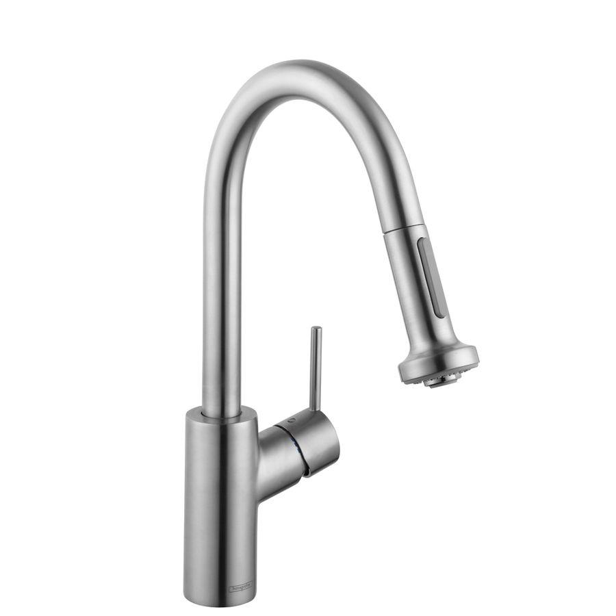 Hansgrohe Hg Kitchen Steel Optik 1 Handle Deck Mount High Arc Handle Lever Residential Kitchen Faucet Lowes Com Kitchen Faucet Kitchen Faucets Pull Down Faucet