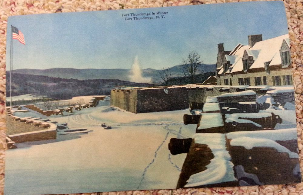 Two 1950s Giant Post Cards Fort Ticonderoga New York Winter