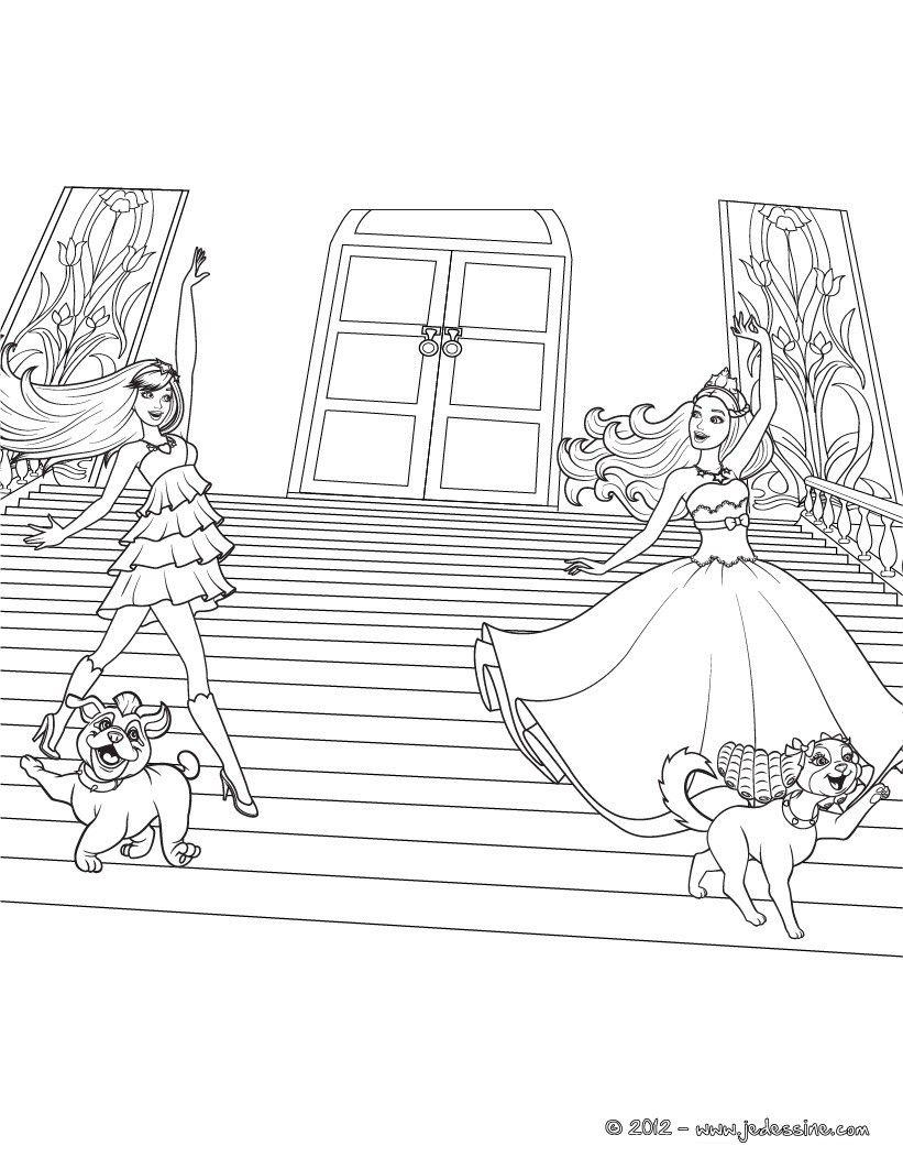 Barbie princesse et popstar. Un coloriage où tu peux colorier les