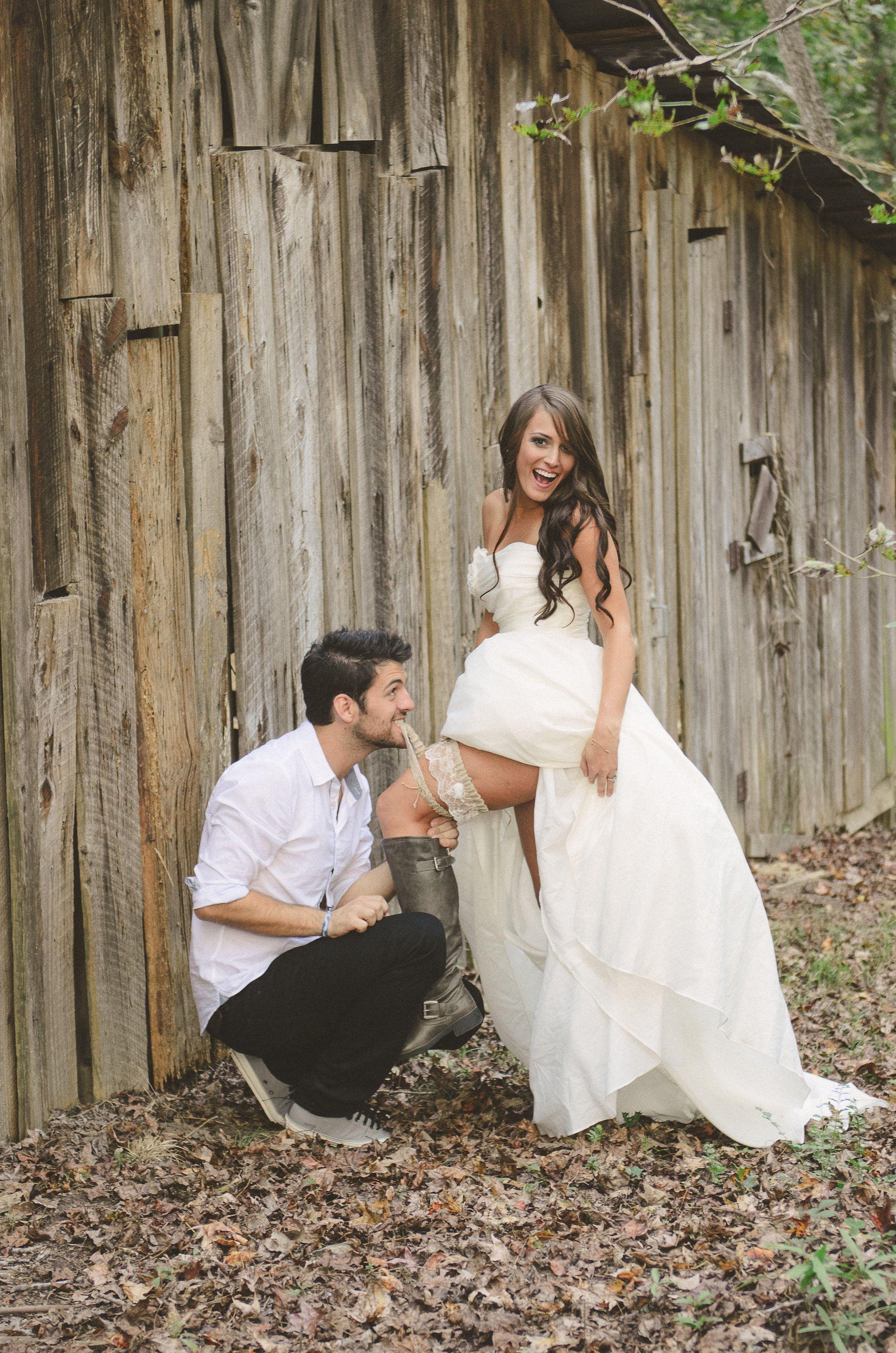 Our Barn Wedding Photography Rustic Bride And Groom Garter Pose