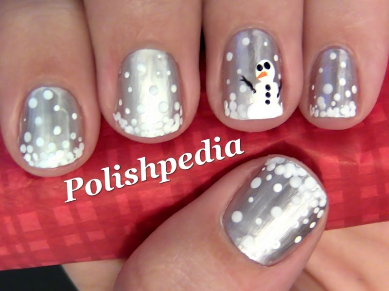 Snowman Nail Art Design - white dots on metallic silver with snowman accent  nails - how - Snowman Nail Art Design - White Dots On Metallic Silver With