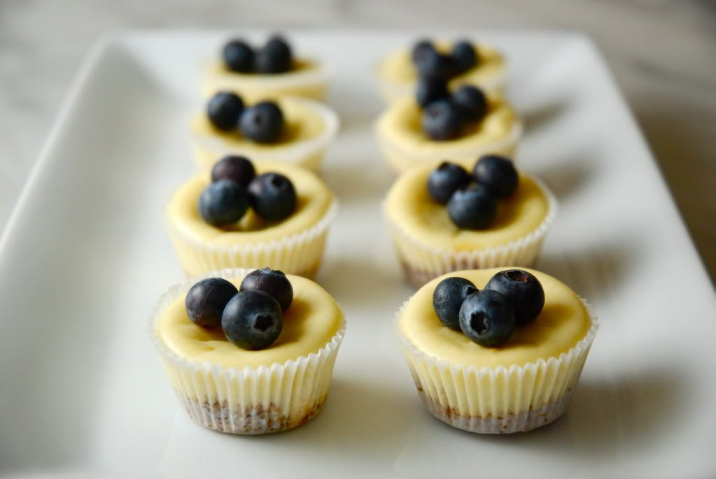 Two-bite Lemon Cheesecakes With Blueberries -- This Recipe