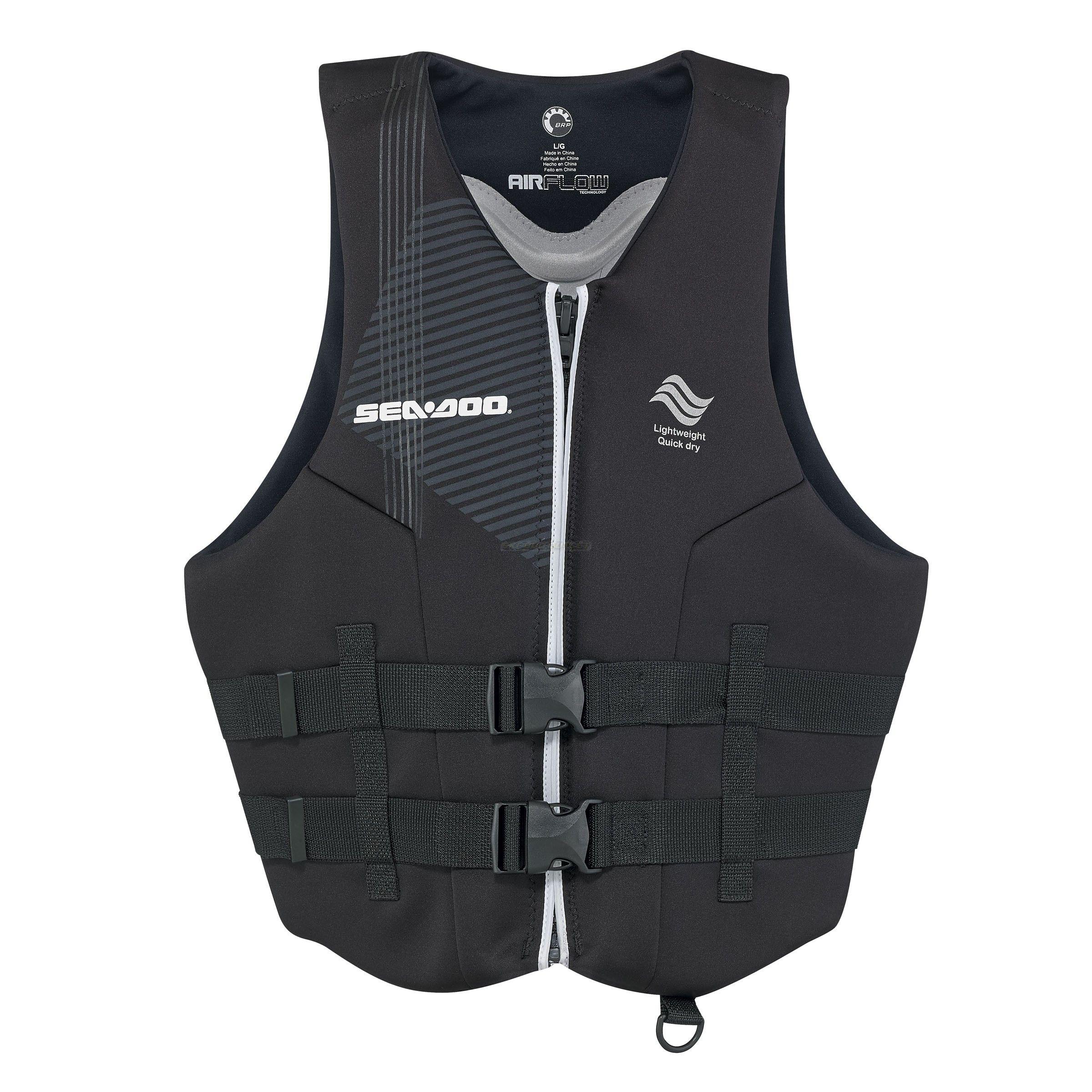 Sea Doo Men S Ecoprene Airflow Pfd Life Jacket Vest Black Ski Doo Outlet Life Jacket Seadoo Life Vest