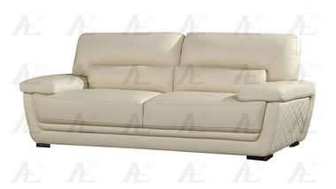 Modern Wooden Legs Upholstered Cream Italian Leather Sofa