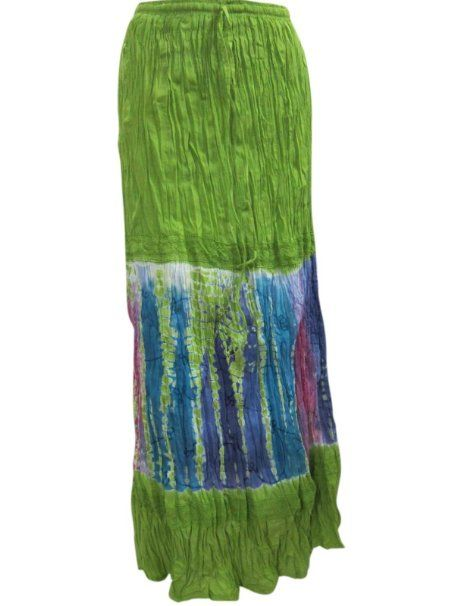 Amazon.com: Boho Maxi Skirts Green Blue Tie Dye Cotton Crinkle Gypsy Skirt: Clothing