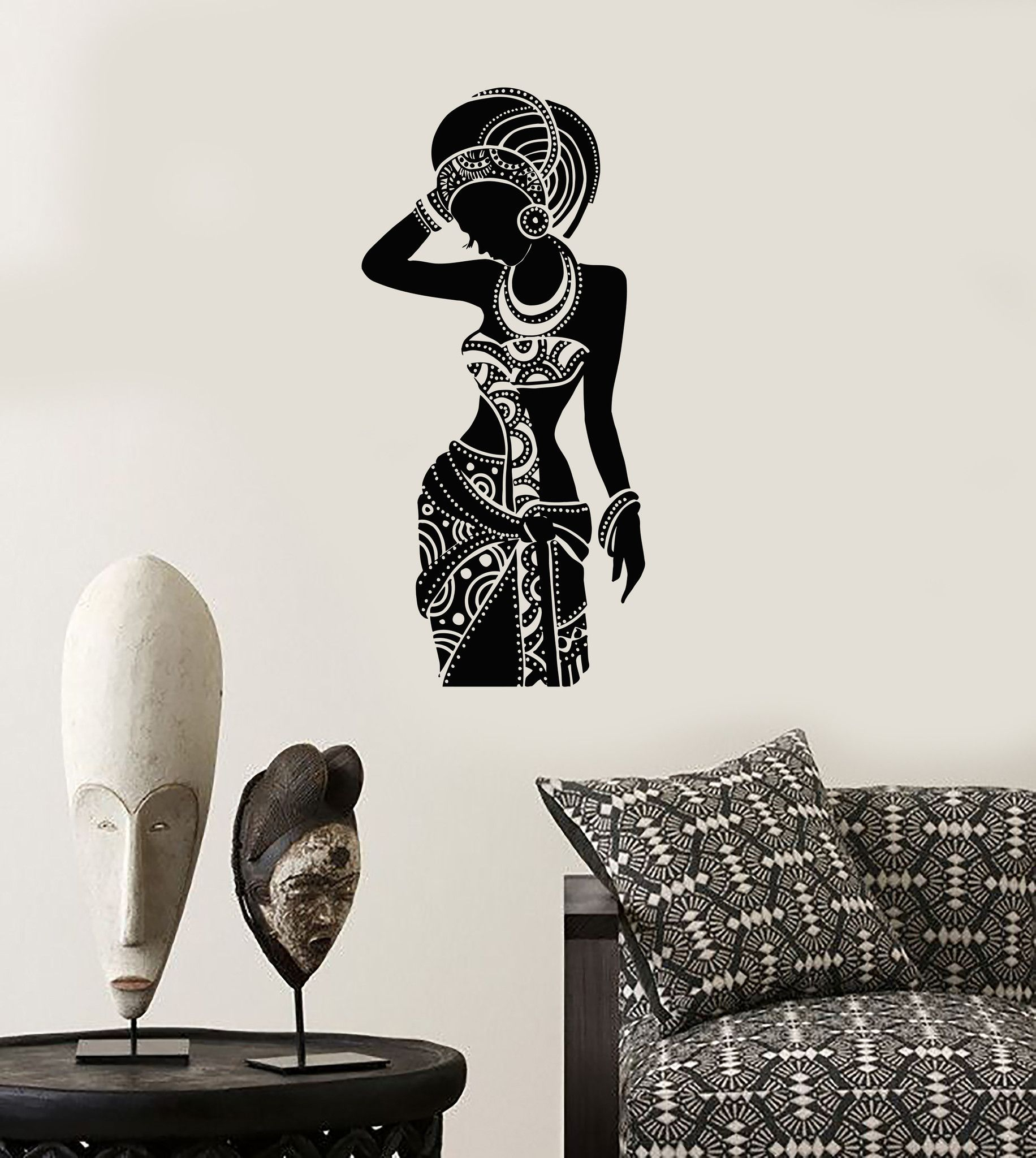 Vinyl Wall Decal Silhouette African Woman Africa Ethnic Stickers - Wall decals animalsafrican savannah wall sticker decoration great trees with
