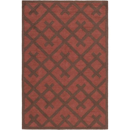 Congo Adrienne Red and Brown Rectangular: 5 Ft. x 7 Ft. 6-Inch Rug - (In No Image Available)