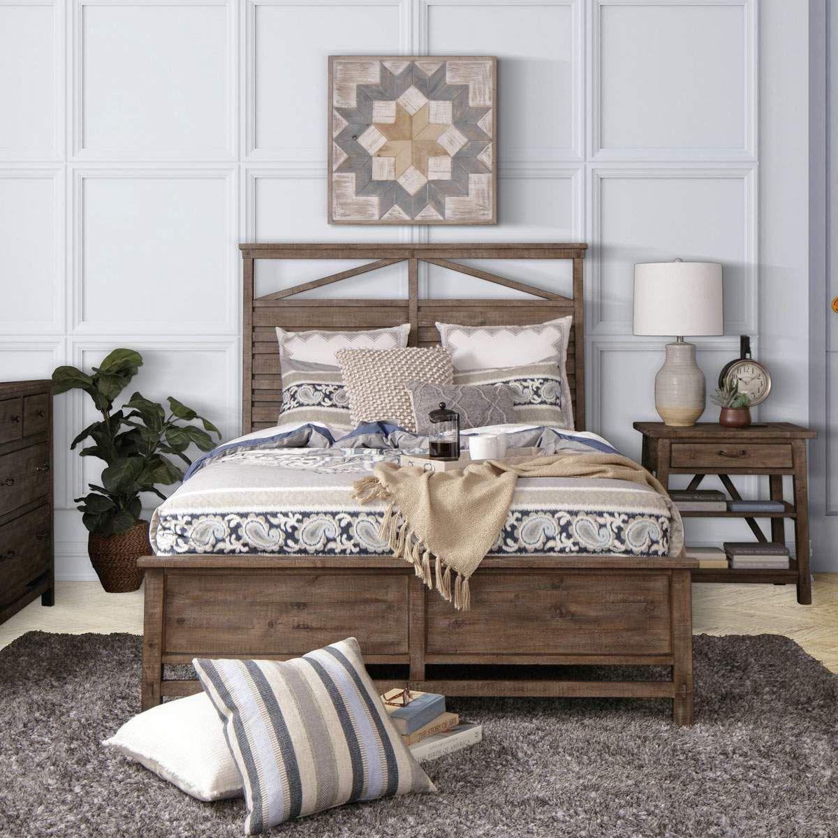 A Toasty Weathered Nutmeg Wood Finish Warms Up Thick Pine Solids And Veneers In The Affordable Bedroom Furniture Bedroom Furniture Sets Farmhouse Bedroom Decor