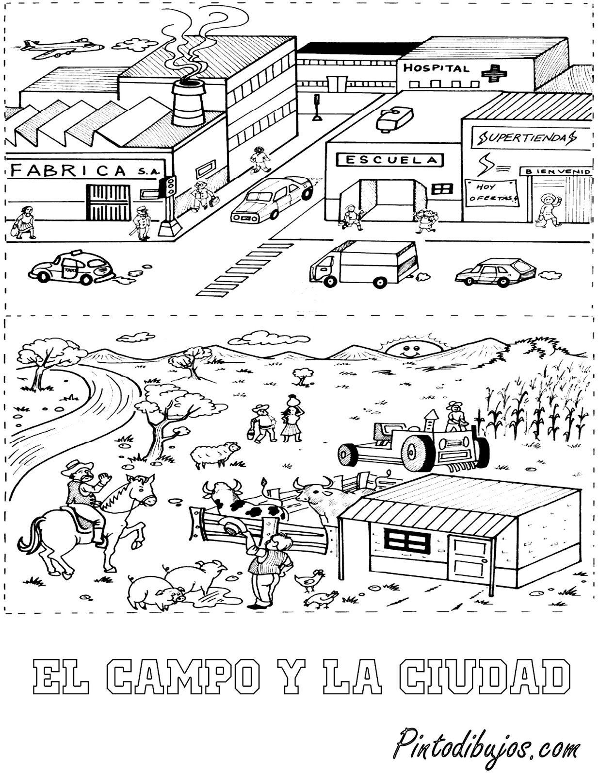 El Campo Y La Ciudad Jpg 1237 1600 Geografia Para Ninos Actividades De Geografia Primeros Grados