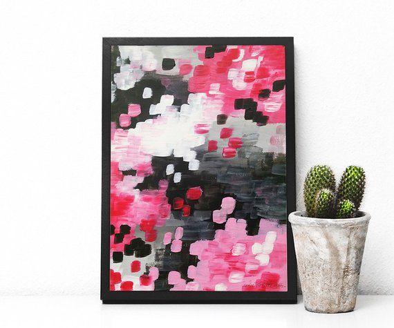Confettis abstract - rose et noir - originale