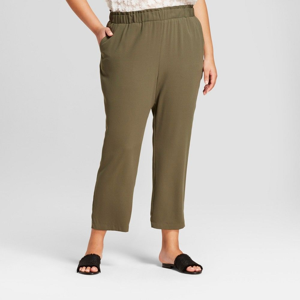 0e53e941395 Women s Plus Size Crepe Paperbag Jogger Pants - A New Day Olive (Green) 4X