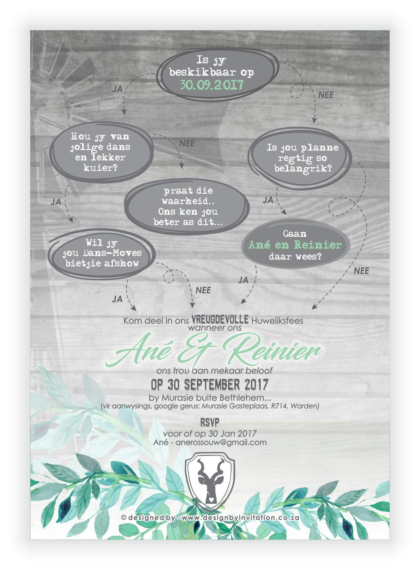 Digital / email Wedding Invitation with Yes . No Theme. © www ...