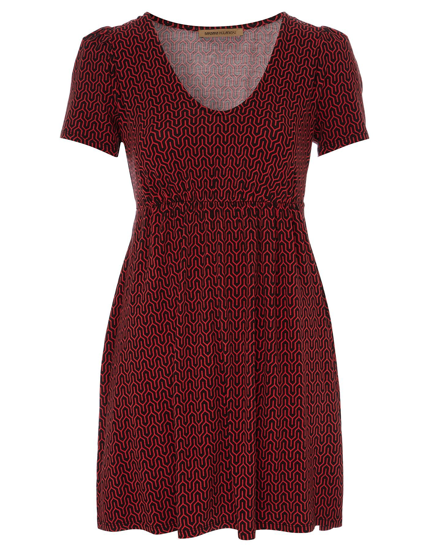 George at ASDA. Jersey v neckline dress with all over print and elasticated waistband from the Barbara Hulanicki range.  Dress length: 32 inches / 81 cm approximately.   Fabric composition: 95% Viscose, 5% Elastane.   Product Code: 4226078. £14.00.