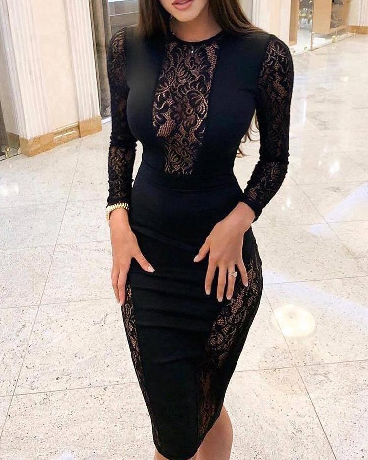 Black Lace Insert Midi Dress -   16 dress Lace bodycon ideas