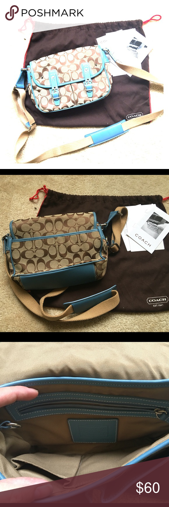 Coach crossbody purse Perfect condition Coach signature design with baby blue trim adjustable crossbody purse. Comes with original papers and dustbag! Coach Bags Crossbody Bags