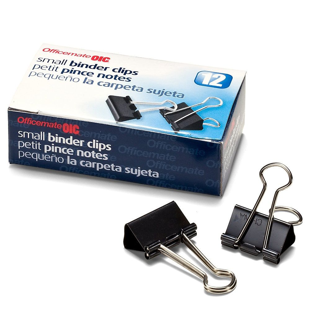 """OIC Binder Clips, Small, 3/4"""", Black, Box Of 12 Small"""