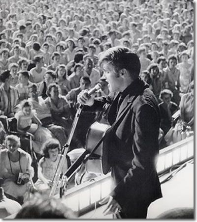 Elvis on stage at Russwood - July 4, 1956