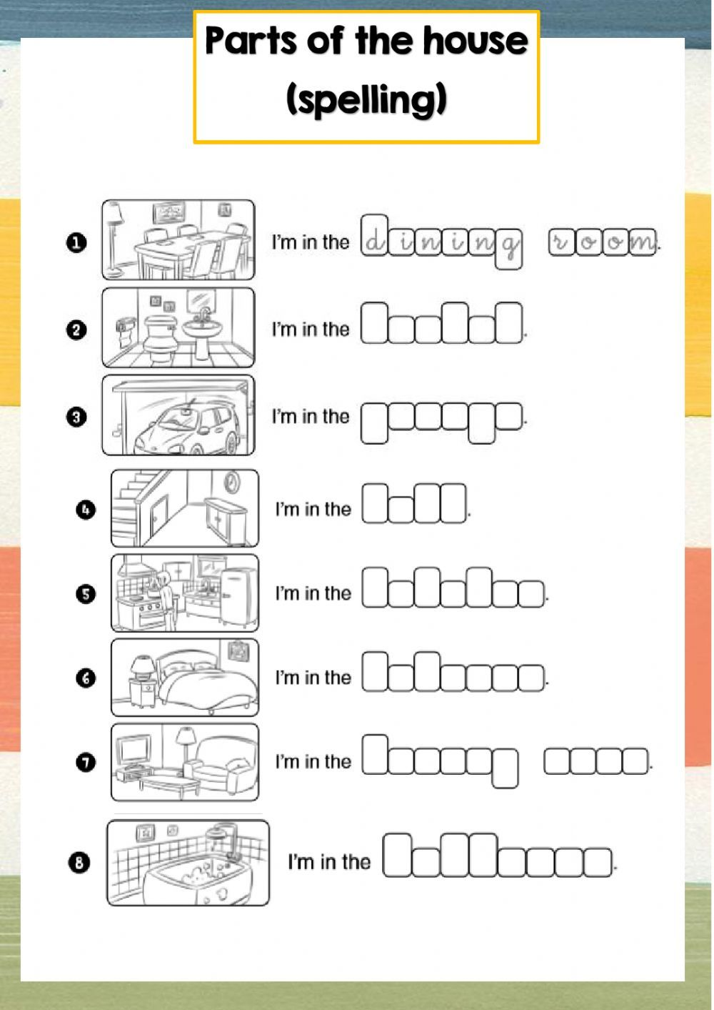 Parts of the house (spelling) Interactive worksheet in