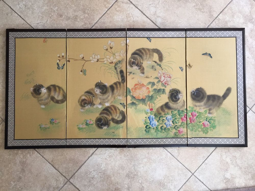 Vintage Chinese 7 Cats & Flower Original Painting 4 Pannel Folding Screen…