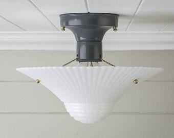 Vintage Rewired Semi Flush Mount Ceiling Light Fixture Mid Century ...