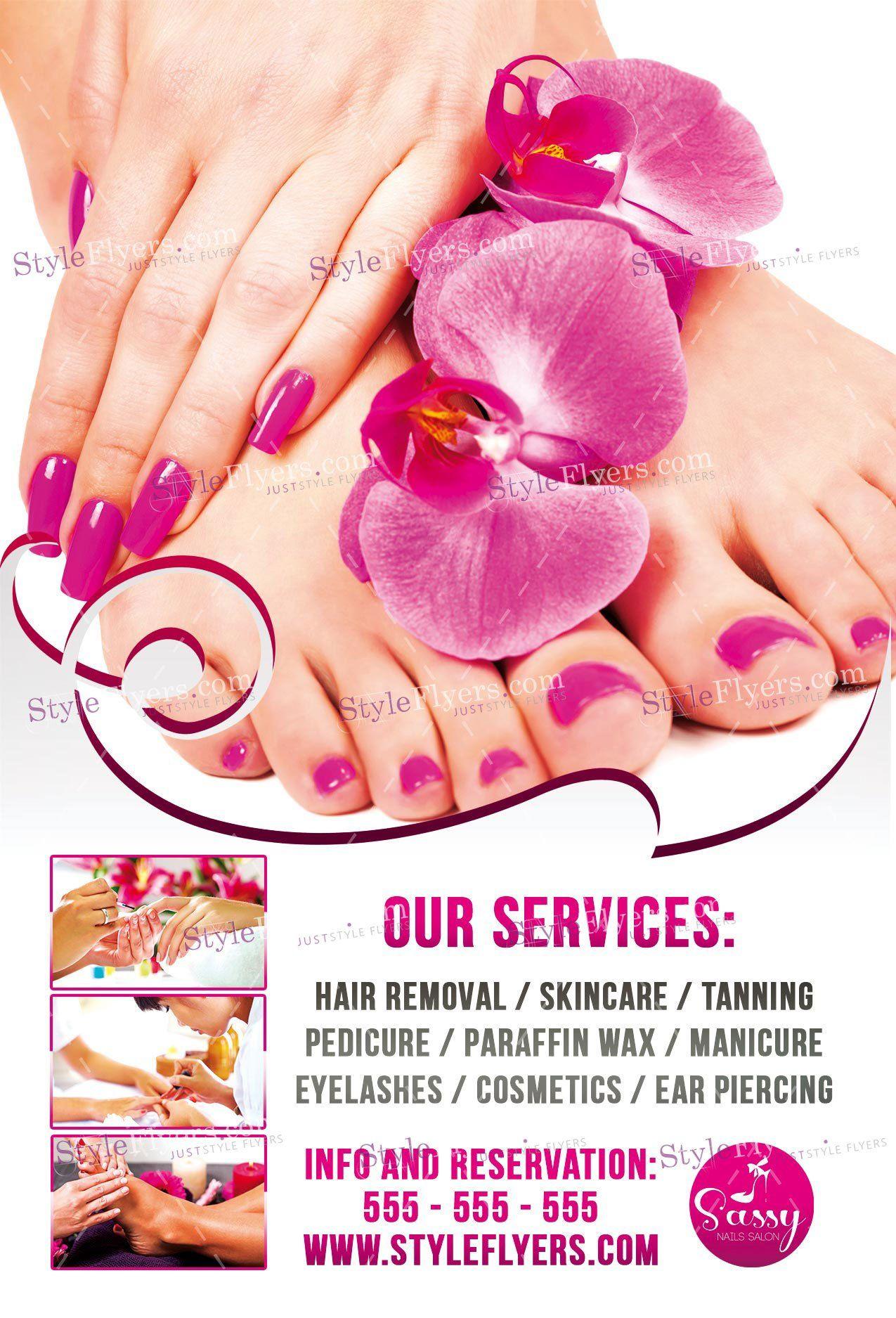 nail salon psd flyer template flyers pinterest psd flyer
